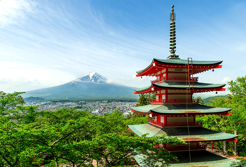 Picture of a Japanese pagoda with Mt. Fuji in the background